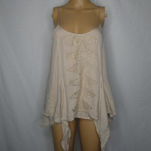 Madison Marcus Silk Floral Lace Ruffle Tank Top Sm